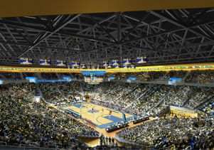 Arena seating bowl image with people