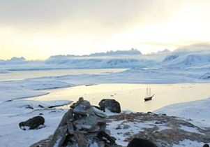 Arctic Circle ship panoramic By Janet Biggs 615px