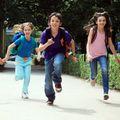 Schoolchildren running