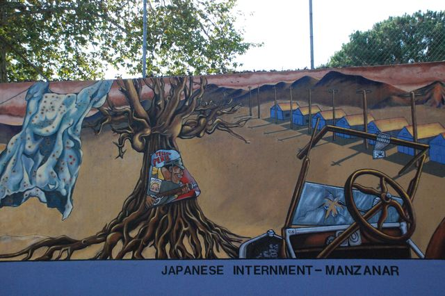 """The Great Wall of Los Angeles"" section depicting the Japanese internment at Manzanar"