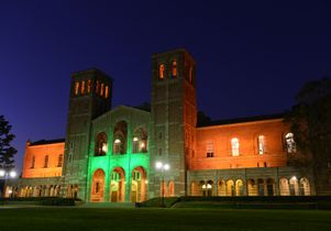 UCLA's Royce Hall turns green. Todd Cheney/UCLA Photography
