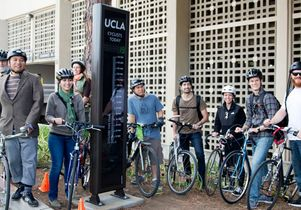 Bicyclists at the unveiling of the new UCLA bike counter.