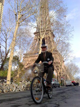 Donald Shoup on Velib bike in Paris
