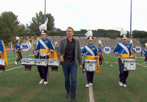 UCLA Bruin Marching Band with Phil Keough host of The Amazing Race