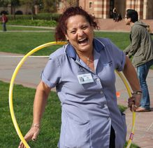 UCLA staff member hula-hoops