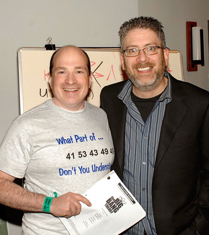 "David Saltzberg, left, with ""The Big Bang Theory"" creator/executive producer/writer Bill Prady after a taping."