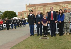 An honor guard at the Veterans Day ceremony at UCLA