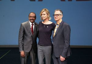 Michel Sidibe, Charlize Theron and David Gere
