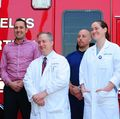 LAFD Interim Chief James Leatherstone, Jode Lebeda and UCLA medical staff