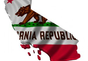 California state flag in tatters