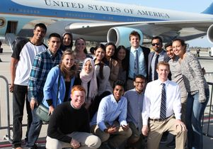 Kal Penn and UCLA students after meeting Obama