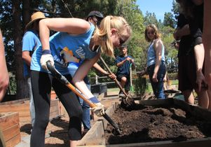 UCLA urban ag class at Sunset Canyon garden