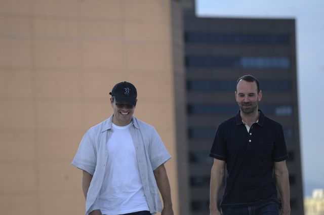 Actor Matt Damon (left) and professor Alex Hall