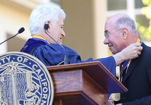 Chancellor Gene Block presents David Geffen with the UCLA Medal