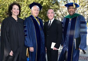 Sherry Lansing, from the left, Chancellor Block, David Geffen and Dr. A. Eugene Washington