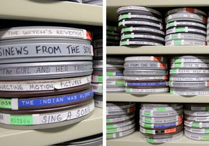 Film canisters from Film and Television Archive