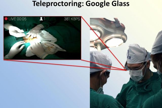 Dr. Martin Chenu from Paraguay wears Google Glass during a hernia procedure