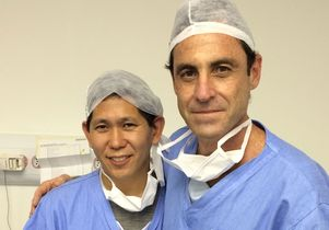 UCLA surgeon Dr. David Chen (left) and Dr. Sergio Roll of Sao Paulo, Brazil, one of the local surgeons learning to use Google Glass.