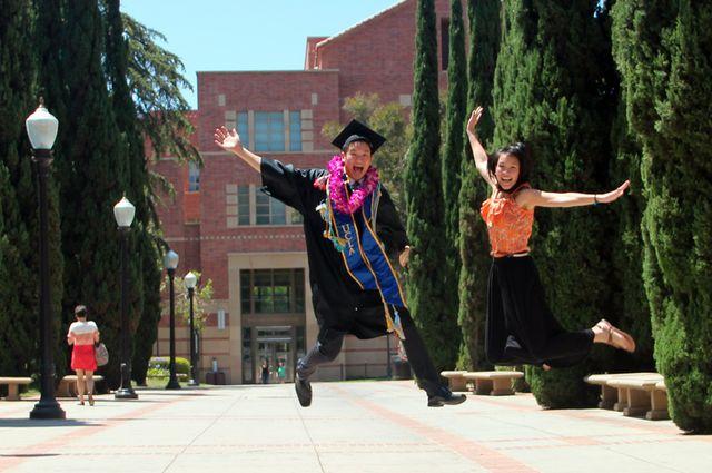 Commencement 2014 - grads jump