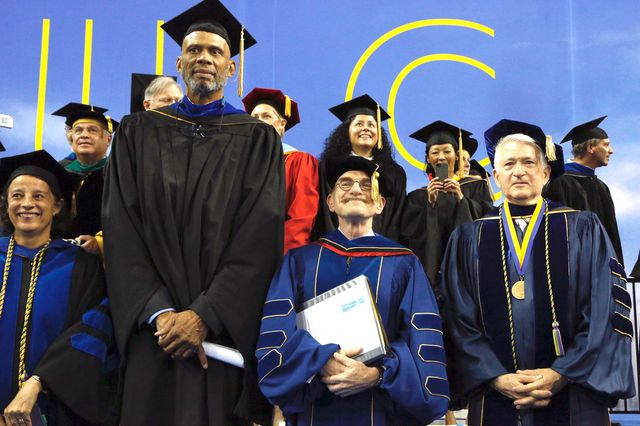 Kareem Abdul-Jabbar, Randy Schekman and UCLA Chancellor Gene Block at graduation 2014