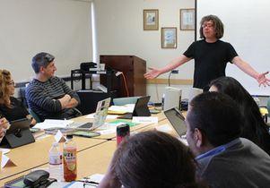 David Goldblatt teaches a seminar on using soccer as a teaching tool.