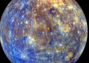 Mercury, with colors enhanced to emphasize the chemical, mineralogical and physical differences among the rocks that make up its surface.