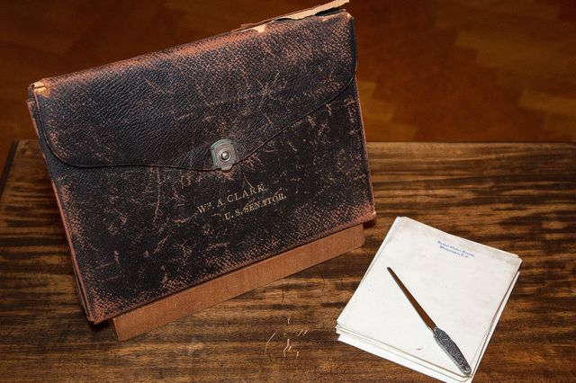 Leather document carrier - Clark donation