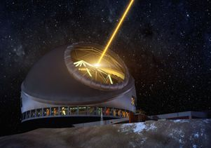 An artist's rendering of the Thirty Meter Telescope at night