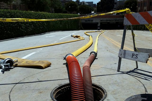 Hoses in parking structure