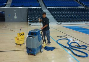 Mopping Pauley Pavilion court