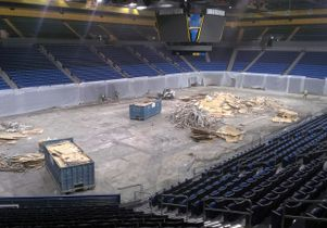 Pauley Pavilion floor removed