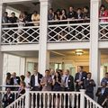 Students and alumni celebrate the program's 10th anniversary at the Annenberg Community Beach House.
