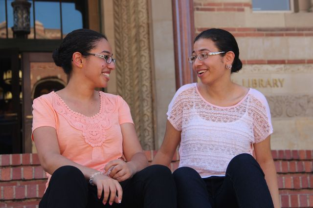 Marina and Youstina Salama at Powell Library