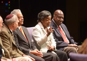 Robert Farrell, third from from left, on a panel at Royce Hall with other ULCA Freedom Riders.