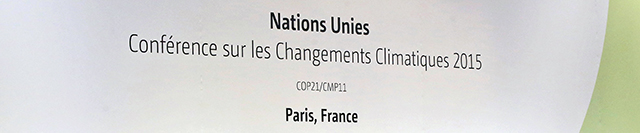 Sign from Paris climate change conference