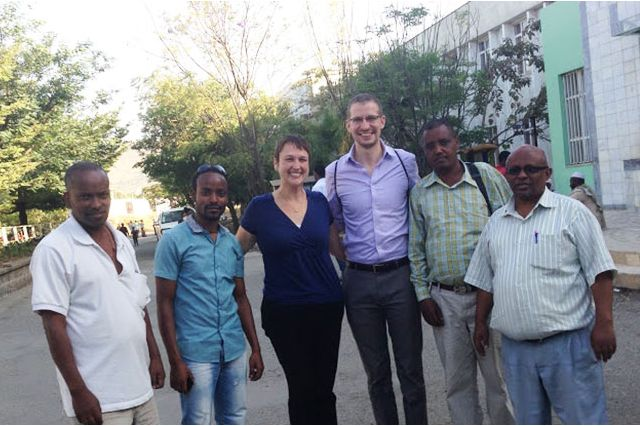 Sandy Wilkins and Adam Foley with faculty of Hawassa University Referral Hospital in Ethiopia