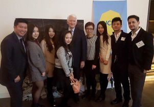 UCLA Chancellor Gene Block and Vice Provost Cindy Fan with UCLA alumni and supporters in Beijing
