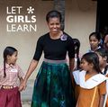 "First lady Michelle Obama for the ""Let Girls Learn' campaign"