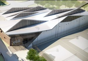 Illustration of the new Mo Ostin Basketball Center