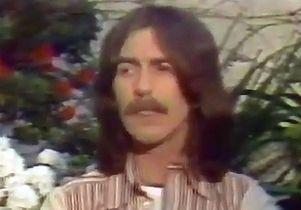 George Harrison being interviewed.