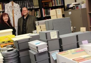 Archivists Maureen Russell and Aaron Bittel