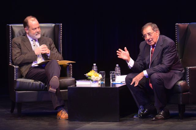 UCLA Luskin Senior Fellow Jim Newton and Leon Panetta