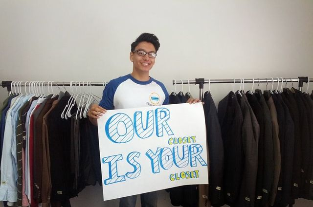 Volunteer Stephen Mendoza at the Career Closet at UCLA