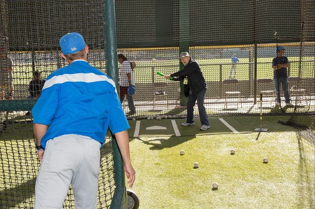 Veteran in batting cage