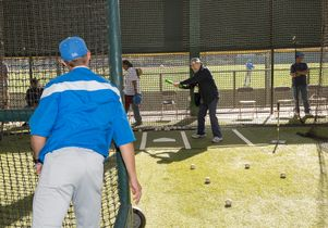 Veteran Nicholas Scordino in a batting cage