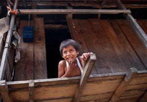 Boy being seen in a pediatric program in Iquitos, Peru