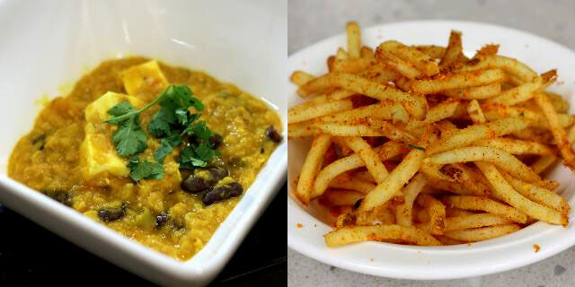 Daal makhani with paneer and a side of yellow curry fries