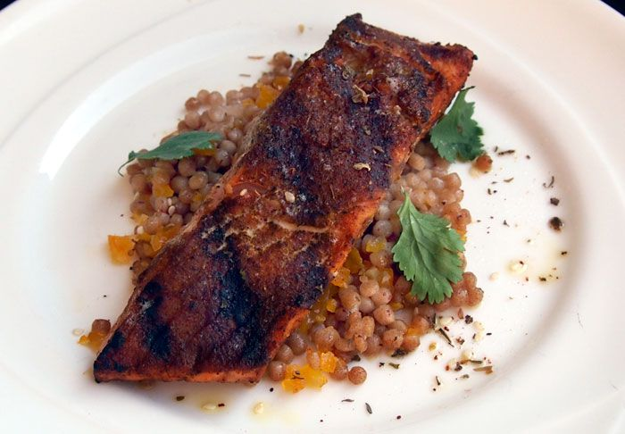 Moroccan-style salmon with whole wheat couscous