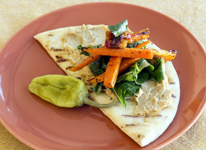 Roasted carrot and apricot pita sandwich