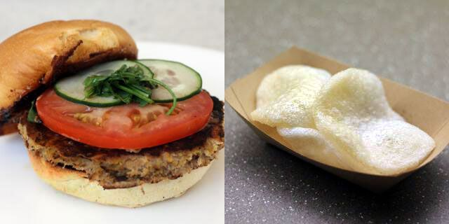 Veggie burger with black-bean garlic sauce with a side of shrimp chips
